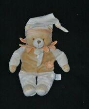 Peluche doudou ours beige DOUDOU ET COMPAGNIE mouchoir blanc fleur 28 cm TTBE