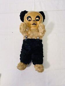 "Vintage Rushton Star Knickerbocker Rubber Face Panda Plush Bear Sleepy Eyes 14"""