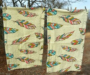 PAIR southwestern quilted pillow shams FEATHERS tribal