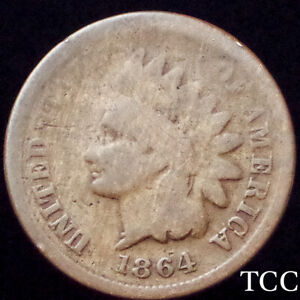 1864-L INDIAN HEAD CENT 1c ~ BEAUTIFUL SURFACES ~ WITH L ~ KEY DATE ~ TCC