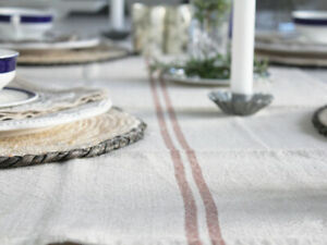 TABLE RUNNER LUXURY 100% LINEN FRENCH STRIPE NATURAL RED VINTAGE DECOR  WEDDING