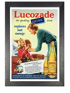 Lucozade Vintage Retro Poster Energy Fizzy Drink Photo Mum and Daughter Family