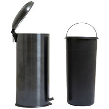 8 Gallon / 30 Liter Round Gunmetal Painting Stainless Steel Step-on Trash Can