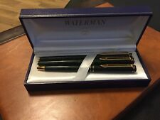 Waterman Preface Green marble Fountain, Rollerball and Ball pen set.