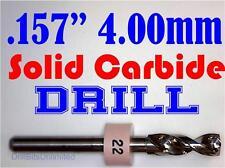 ".157"" 4.00mm  -Solid Carbide Drill Bit - 1/8"" Shank -Sharp! CNC Hobby Model -lu"