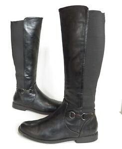 Ladies M&S Black faux leather low-heel knee high boots Size UK 6.5 Great Cond