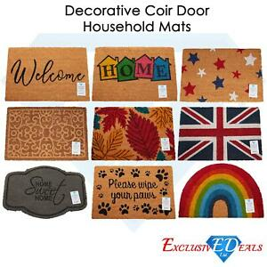 Door Mat Doormats Non Slip Natural Coir Welcome Indoor Outdoor Home Backdoor Mat