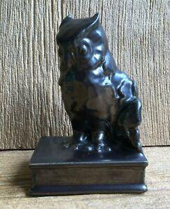 1933 Rookwood Art Pottery Owl Bookend 2655 Gun Metal Mary Margaret McDonald Vtg