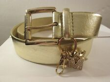 Michael Kors Women's Gold Leather Waist Belt Size L - with MK Keychain Tag Logo