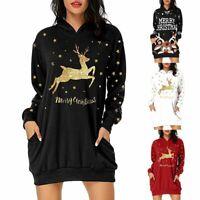 Womens Christmas Long Hoodie Ladies Girls Santa Claus Round Neck Mini Dress