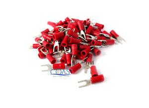 Car Audio Alarm Red Spade Terminal #6 22-18 Gauge - 100 pcs