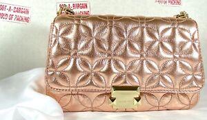 Michael Michael Kors Sloan Rose Gold Quilted Leather Large Chain Shoulder Bag