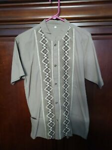 Traditional Guatemalan Men's Shirt with Embroidered Trim Light Brown: Size M