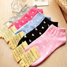 5 Paar Damen Freizeit Baumwolle Sport Socken Herz Knöchel Low Cut weich Set