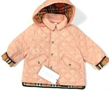 Burberry Ilana Hooded Quilted Baby Girl's Jacket 1 Yr 12M Apricot Pink Nwt