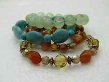 4 Beaded Bracelets, Jadeite, Faux Turquoise, Brown Beaded, Stretch