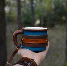 Enamel Mug Leather Coffee Tea Camping Travel Cup 350ml