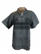Handmade Mens Polo Shirt Dress Cotton Custom Fit Round Neck Tie Front Casual M