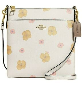 Coach Kitt Crossbody Pansy Print Chalk / Gold Floral Small NWT - $150