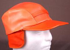 Vtg Leather Hunting Hat-Hunter Orange-Size 7-Quilted Line-Ear Flap-USA-Japan