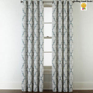 """JCPenney Home Casey Jacquard Grommet ONE Curtain Panel 50 X 95""""L Imperial Teal"""