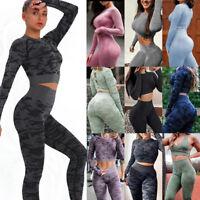 Women's 2Pcs Yoga Suit Crop Tops Leggings Pants Fitness Sport Gym Set Fitness US