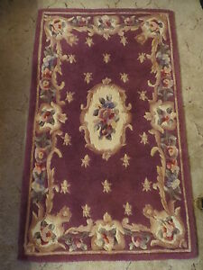 """A. FAB HAND TUFTED & CARVED Oriental Chinese PLUM Wool Rug 4'2"""" x 2'6"""" FLOWERS!"""