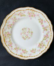 Haviland Limoges Dinner Plates Schleiger 844 Pink and White Roses, Double Gold