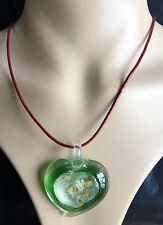 100% Handmade Lampwork Glass Murano heart eye Gold foil color Pendant Necklace