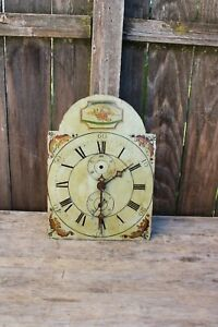 early American wooden works weight driven tall case clock movement