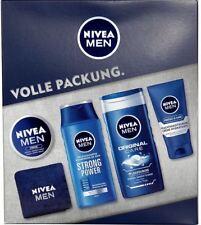 NIVEA Men Geschenkset 5-tlg, Shampoo, Duschgel, 2x Feuchtigkeitscreme, Handtuch