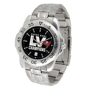 Tampa Bay Bucs Super Bowl LV Watch Game Time Sport Steel Wristwatch