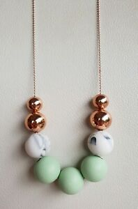 Handmade Green, Marble and Rose Gold Necklace