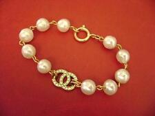 Chanel CC logo w/double sided w/ pearl charms bracelet