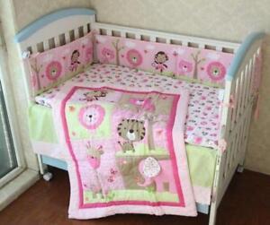 Pink Animals Baby Crib Cot Bedding Quilt Bumper Sheet Dust Ruffle Set of 4pcs A