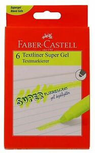 Faber-Castell Gel Yellow Textliner Highlighter Pack of 6 Text Markers
