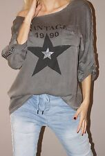 NEU Tunika Glitzer Sterne Streifen Vintage Blogger S 36-40/42 M Grau Must Have