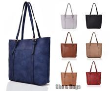 Women Large Vegan Leather Gold Bucklet Work Shopping Tote Bag Shoulder Handbag