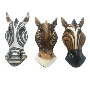Zebra Brown Horses Animal Wooden Masks Painted Safari Wall Hanging 8 inch Set 01