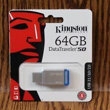GENUINE Kingston 64GB DataTraveler 50 Metal/Blue Flash Drive DT50/64GB BRAND NEW