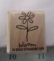 "Stampin Up Small Talk ""Bloom"" Single Rubber Stamp NEW Flower"