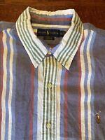 RALPH LAUREN Mens XL Multicolor Stripe Button Down Long Sleeve Shirt Classic Fit