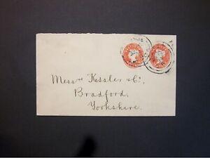 GB Stationery STO 1894 QV 1/2d + 1/2d compound Envelope LONDON d/c's to Bradford