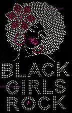 "HOTFIX RHINESTONES HEAT TRANSFER IRON ON ""BLACK GIRLS ROCK PINK FLOWER"""