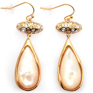De Buman 18k Yellow Gold Plated Mother-of-Pearl Earrings