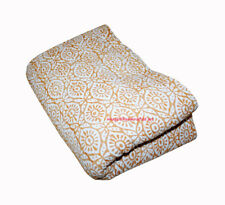 Vintage Yellow Block Print Kantha Quilt Handmade Cotton Bedspread Throw Blanket