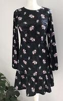 MONKI VELVET ROSES DRESS SIZE FIT 10-12 BLACK