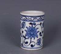 84MM Chinese Blue and White Porcelain Twisting Lotus Flower Small Brush Pot