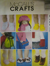 "McCalls 3469 Doll 18"" Shoes Hats Purse Mittens Backpack Slippers PATTERN NEW"