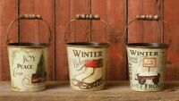 PRIMITIVE BUCKETS CHRISTMAS WINTER WELCOME FARMHOUSE Set of 3 VINTAGE STYLE